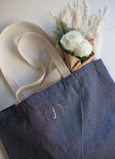 Embroidered Monogram Tote Bag DIY