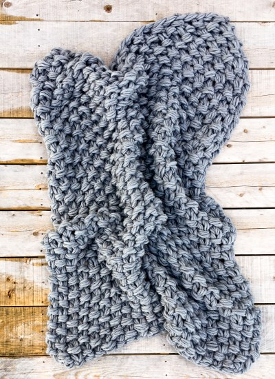 Arm Knit Seed Stitch Blanket Pattern