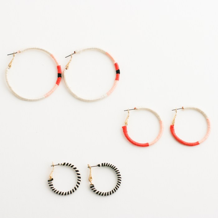 Embroidery Thread Wrapped Hoop Earrings