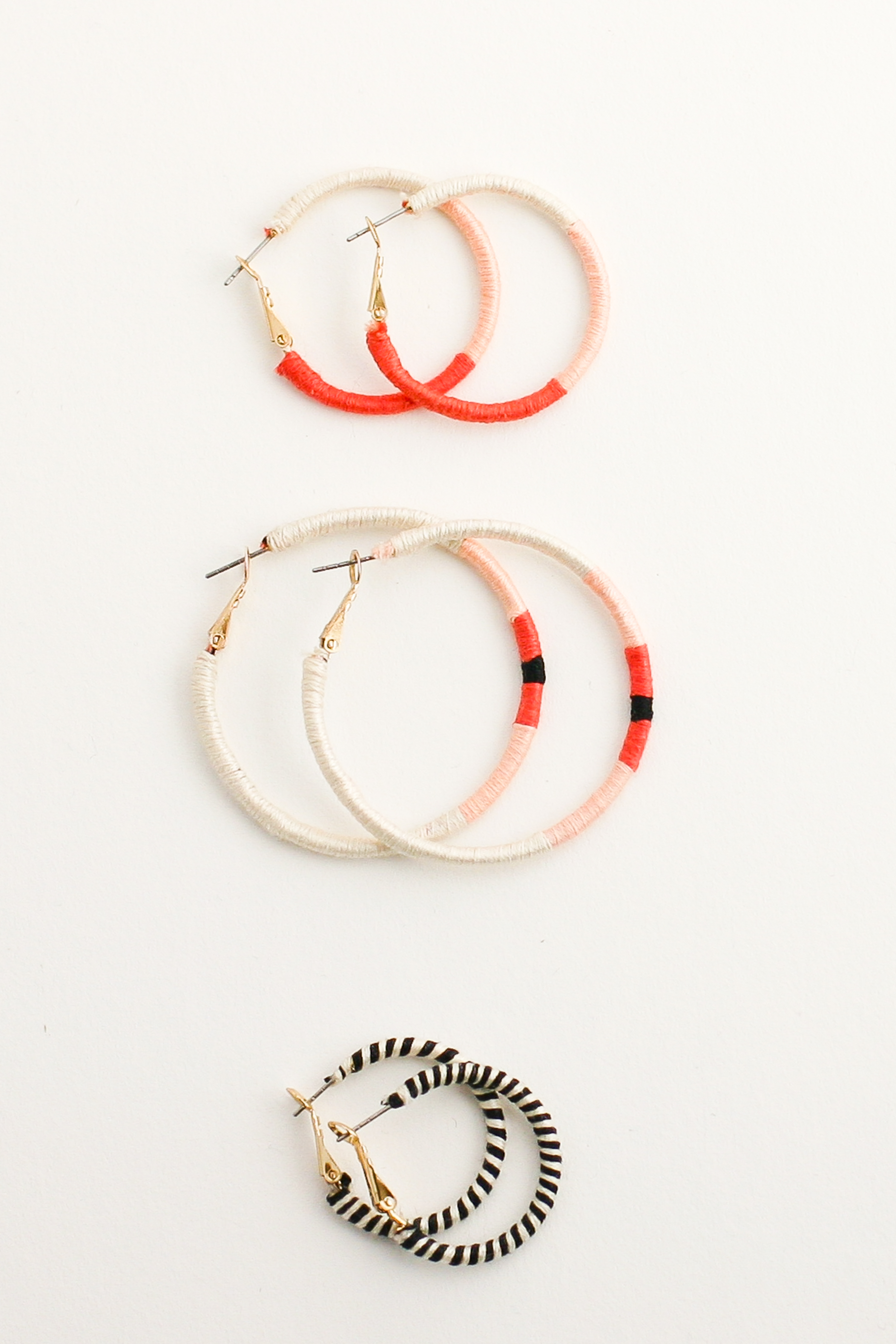 Embroidery Thread Wrapped Hoop Earrings Diy Flax Twine