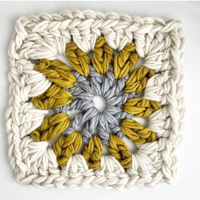 Giant Granny Square Pillow Pattern & Kit - Yellow Colorway