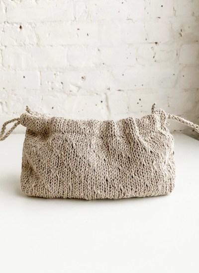 Drawstring Knit Bag Pattern in Trellis Stitch