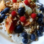 """The Budwig diet """"muesli"""" is made with cold-pressed flax oil creamed with quark cottage cheese plus fruit, berries and chopped nuts. It is as delicious as it looks."""