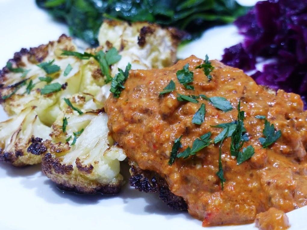 Romesco sauce with roasted cauliflower