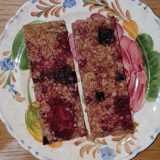 Dairy-free, Gluten-free, Vegan Flapjack, Linseed Flaxjack Mixed Berry