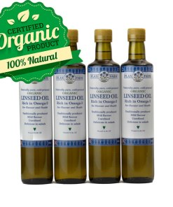 Organic cold-pressed linseed flax oil 4 x 500ml