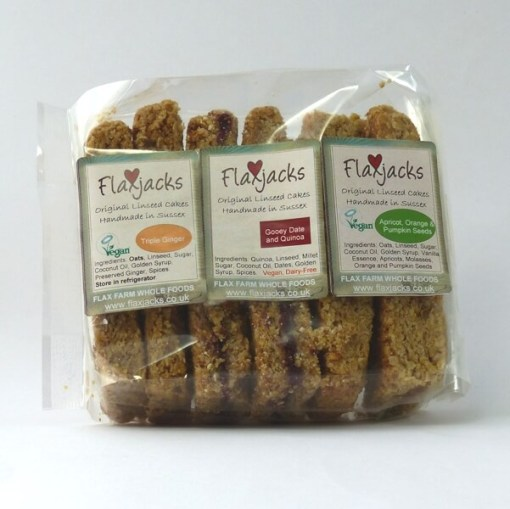 Dairy-free linseed Flaxjacks, healthy vegan flapjacks style cakes.