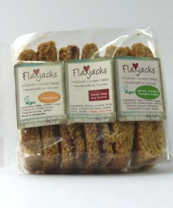 Dairy-free linseed Flaxjacks, healthy vegan flapjacks style cakes.