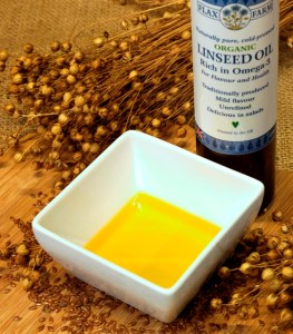 Flax Farm organic cold-pressed linseed oil.