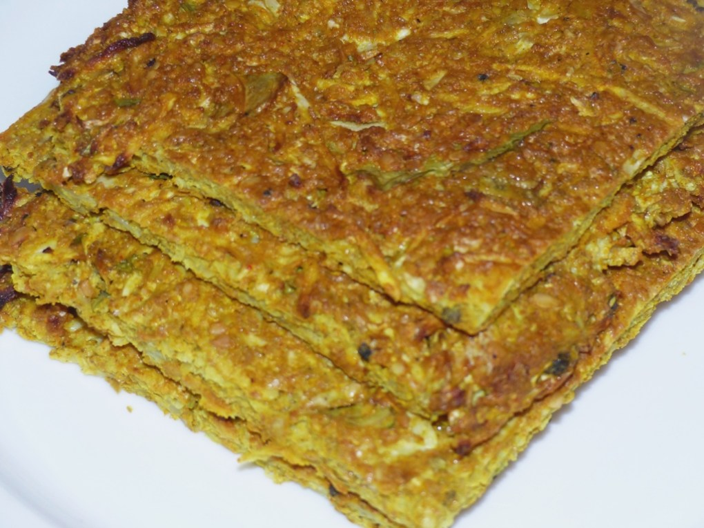 Turmeric, cauliflower & linseed bread; Gluten-free, wheat-free, no-saturated fat, low GI, starch-free, very low carb & paleo