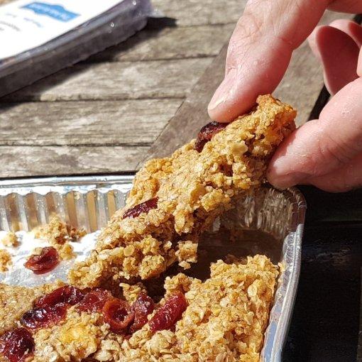 Cranberry Apple cinnamon luxury homemade flapjacks with linseed