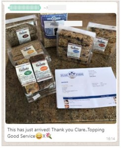 Linseed (flax) and Flaxjacks, luxury flapjacks, ordered online and testimonial