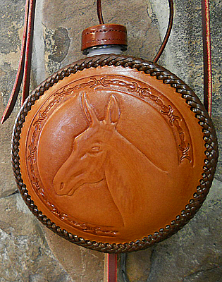 Mule Canteen Western Leather Canteen USA Russet Leather