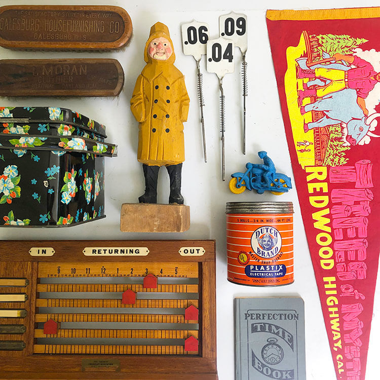 A collection of vintage items arranged methodically for vintage sellers.