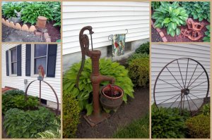 """A collage from photos taken earlier this spring, I garden w/ Hostas and Rust. Most of my rust has a family farm story related to it."""