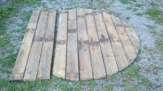 Old floorboards cut to size
