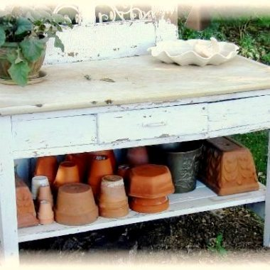 Jeanne Sammons' stash of pots, sheltered for the winter.