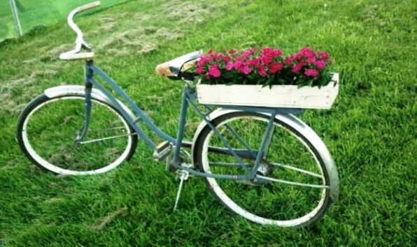 Debra Clark's bike with a colorful planter box on the back