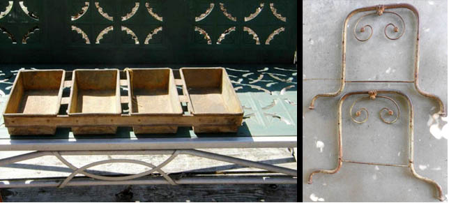 metal headboard and footboard parts of an antique child's bed look wonderful on a plain wall