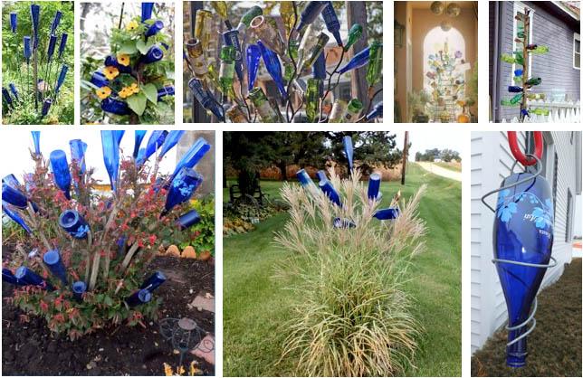 bottom row blue bottle art by Nancy K. Meyers