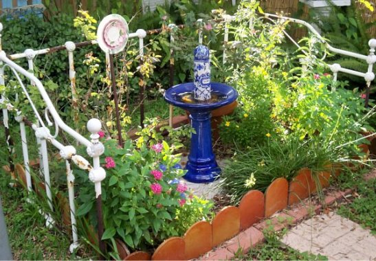 An old be frame fences in a 'whimsie garden'
