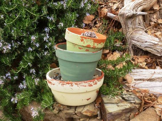 Sue Langley's aged terracotta pots