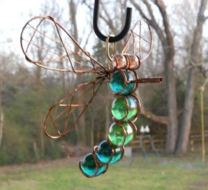 Jimmye Lynn Dye-Porter's dragonfly made from wire and marbles makes a suncatcher