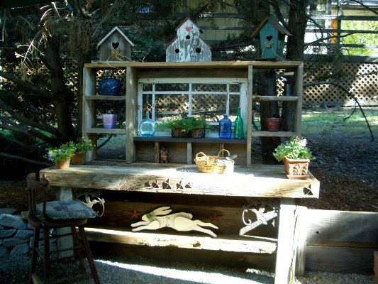 Barbara is proud of her handcrafted potting bench