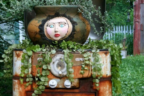 Linda Lou Miller's gorgeous garden lady made from the most creative materials.