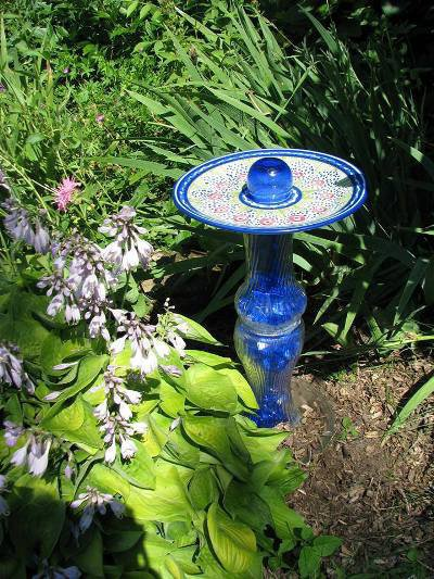 Gem-filled totem bird bath