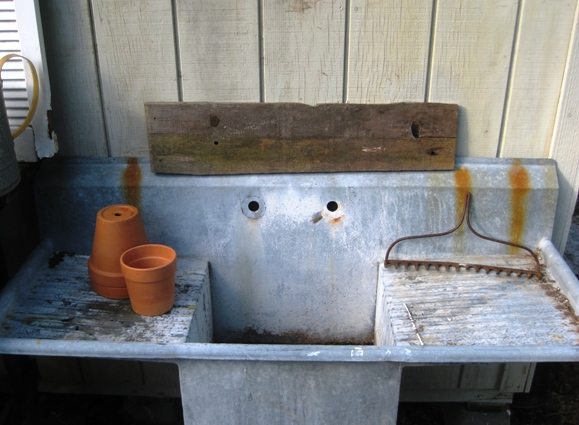 Once moved to its new spot, the old sink was ready to play with