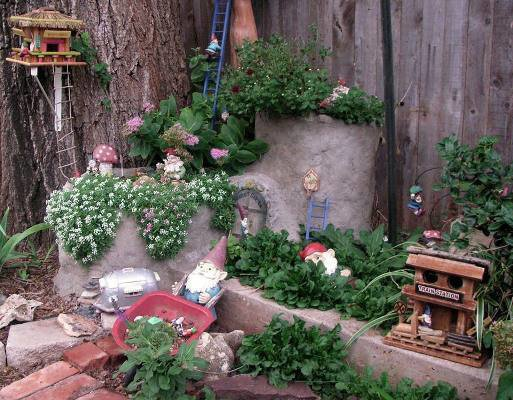 Becky's multi-level gnome garden