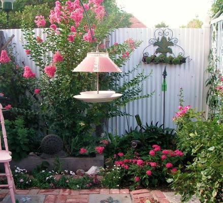 A corner of Becky's pink garden