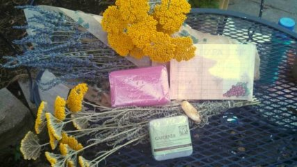 Wonderful smelling dried lavender and yarrow from Sandy's gardens
