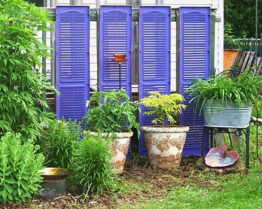 10 ways to use reclaimed shutters in the garden   Flea Market Gardening