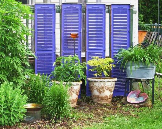 "Laura Wilke says, ""Upcycled shutters and purple spray paint - Fun!"""