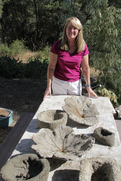 Sue Langley and several hypertufa projects
