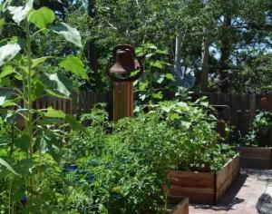 Vintage bell placed in Marie Neimann's garden