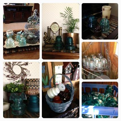 Vintage glass insulators indoors and in the garden