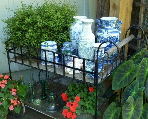 Kathleen Vedder Shows How A Wrought Iron Serving Cart Can Be Used In The  Garden.