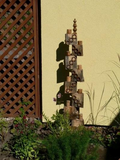 Bogdan's wooden totem, wood blocks, rings and a finial top