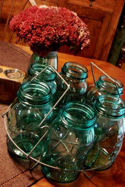 Jeanne's jars and rack will transform into an outdoor centerpiece
