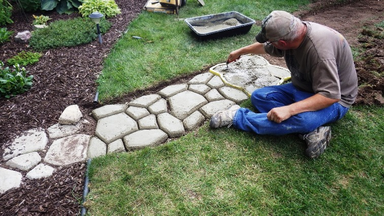 See progress on the pathway as Mike creates the sections, one by one