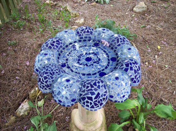 Paulette Clements's blue tiled birdbath