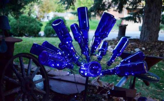 Solar powered bottle bush