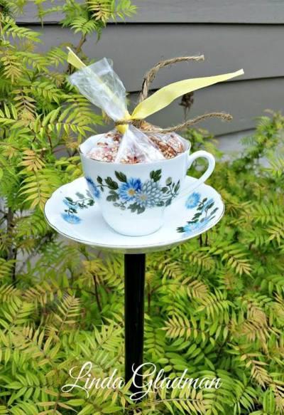 Linda S Bird Feeder Teacup Flea Market Gardening