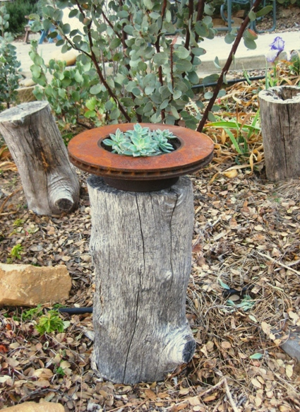Sue Langley's brake rotor 'planter'