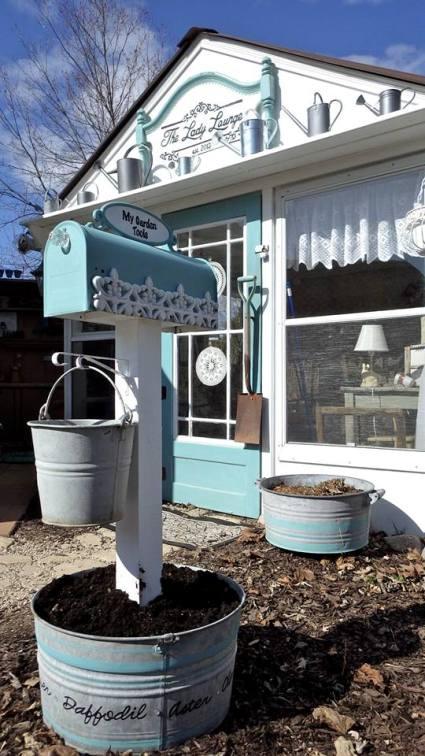 A tub makes a good base for a 'garden tool' mailbox