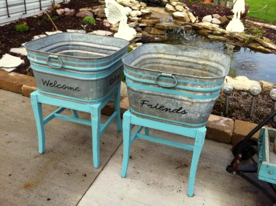 Garden Color Painting Galvanized Tubs Flea Market Gardening