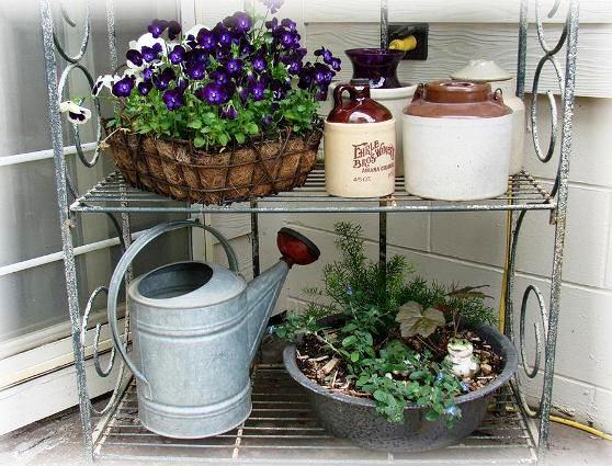 Jeanne Sammons's Baker's rack flower arrangement